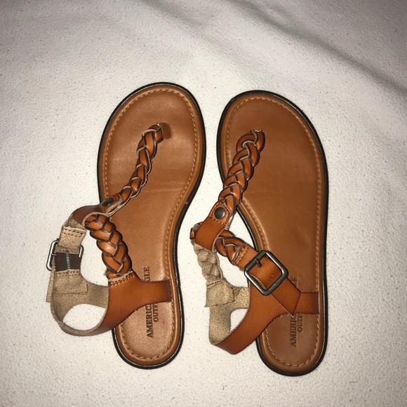 4a6802a55e3 American Eagle Outfitters Shoes - Caramel braided thong sandals!